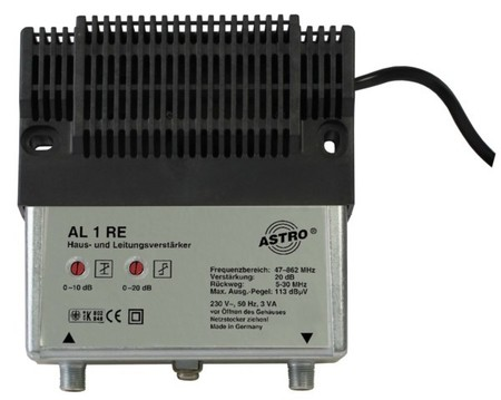 Astro Strobel Hausverstärker 20dB F-Connector AL 1 RE