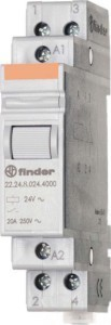 Finder Installationsrelais 2Ö, 20A, 24VAC 22.24.8.024.4000