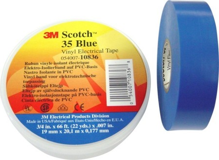 3M Deutschland PVC Elektro-Isolierband 19 mm x 20 m, blau Scotch