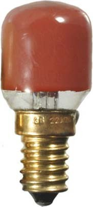Scharnberger+Has. Birnenformlampe 26x57 mm E 14 235V 15W rot 401
